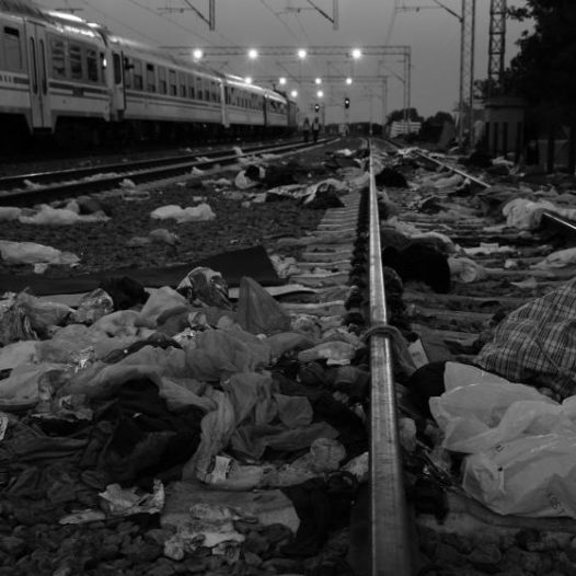 At the train station in  Tovarnik, Croatia refugees camped on the train tracks leaving debris behind, Sept. 21, 2015.