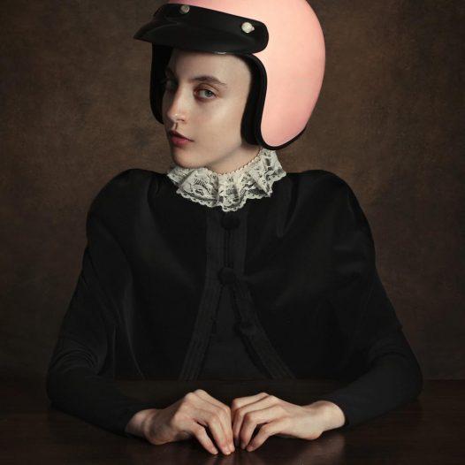 Girl wearing a Helmet