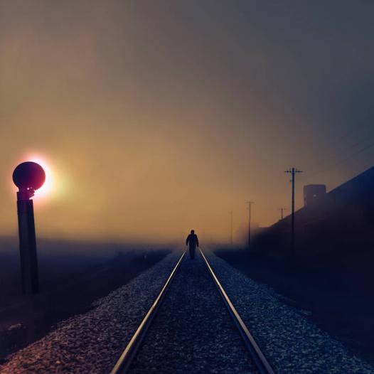 Walking on railway tracks.