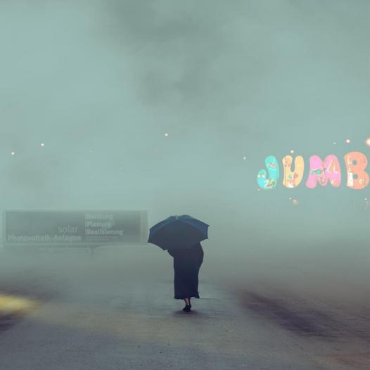 Walking through heavy mist.